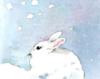 ACEO Limited Edition 1/25- Snow bunny, Gift idea for animal lovers, Rabbit, Art print