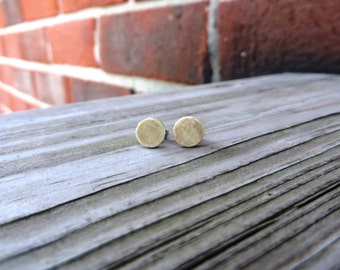 Wood Stud Earrings Handmade Holly Wood w/ SS Posts