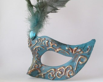 Masquerade Mask Women Turquoise Blue Green Mask With Feathers Ornate Venetian Domino