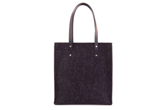 40% OFF - Felt TOTE BAG with leather straps / wool felt / black felt / black bag / felt bag / wool felt bag / handmade / made in Italy