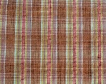 Tutti Frutti Fabric / Plisse Fabric /  Plaid Fabric / Peach Plaid Fabric / Summer Fabric / Quilting Fabric / Vintage Fabric