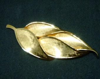 Large Gold Textured Leaf Brooch