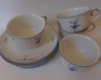 vintage villeroy & boch cups and saucers set of 4 vieux luxembourge