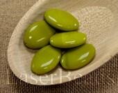 10pc Olive green beads 20mm    Green glass beads   Bright Olive green flat ovals Czech Glass   Opaque green beads