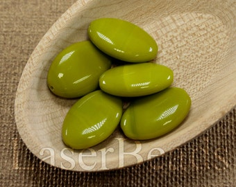 10pc Olive green beads 20mm |  Green glass beads | Bright Olive green flat ovals Czech Glass | Opaque green beads