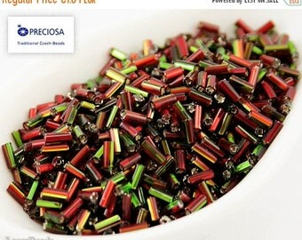 ON SALE 20% OFF Czech Seed Beads (20g) 4mm Red Green Bugle Preciosa Ornela Two Cut Tube Nr 220 Opaque