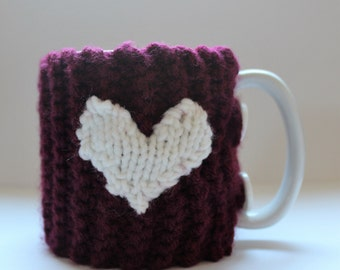 Knitted Coffee Cozy With Heart and Buttons