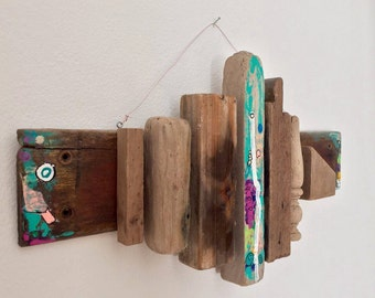 "Hanging Painted Driftwood Sculpture 11""h X 20""w    ""Another Mans Treasure 2"" by Patrick Robert"