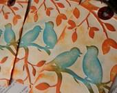 3 LARGE TAGS Embossed BIRDS On A Branch Design Blue Bittersweet Orange Brown