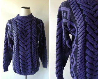 80s Tribal Pullover Sweater Vintage Purple + Black Chunky Knit Baggy Fit Ladies Top Size S/M Small Medium 1980s Retro Knit Top Hipster Boho