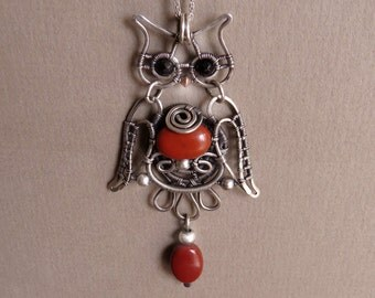 Reversible, 925 Sterling Silver, Wire Owl Pendant, Sterling Silver Chain