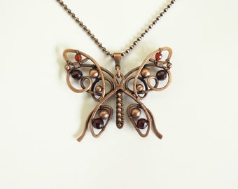 Reversible Butterfly Pendant/Necklace Copper Wire, Copper Chain, Agate, Handmade