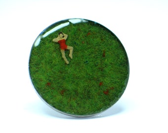 Bather on grass. Resin rings. Modern jewelry. resin jewelry. Adjustable ring. Cocktail ring. Miniature ring. OOAK