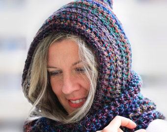 Infinity scarf with hood, black multicolor hooded scarf, infinity hooded scarf, Calypso Hood