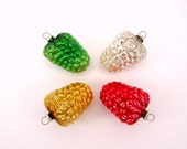 Vintage Figural Mercury Glass Grape Cluster Christmas Holiday Ornaments Japan Set Of Four