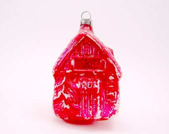 Mold Blown Figural Cottage Christmas Ornament Red Vintage Glass House Holiday Ornament