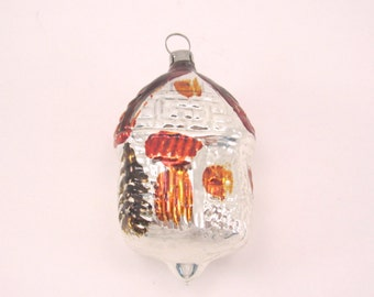 Figural Cottage Christmas Ornament Vintage Glass House Holiday Ornament