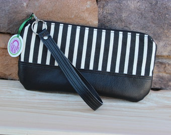 Small Wristlet in Black and Cream Striped Canvas with Black Faux Leather