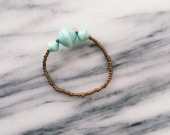 Large Mint Three Bead Bracelet
