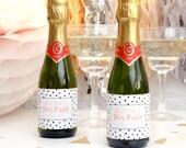 Personalised Hen Party Polka Dot Bottle Labels