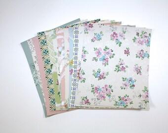 Vintage Wallpaper Sample Collage Pack (12 Sheets, 8 1/2 in. x 10 1/2 in.) - Vintage Wallpaper Scraps