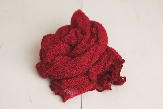 SALE - Deep Matte Red Pomegranate Newborn Stretch Knit Baby Wrap - Photography Prop - CLEARANCE