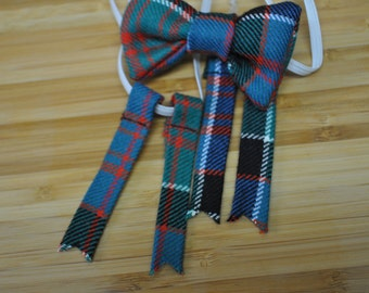 Baby Bow ties & flashes set. Macdonald of Clanranald Ancient tartan. Handmade in Scotland. On Elastic, suitable age 0-5yrs