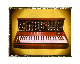 Moog synth music art print / music gift / rock n roll art / music room decor / guitar gift / man cave art