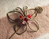 Butterfly, Wire Wrapped Hair Pin, Barrette, Hair Clip, Hair Slide