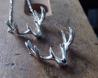 Deer Antler Necklace Diamond and Silver