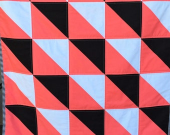 SALE Modern Baby Blanket, Coral Black White Floral Patchwork Quilt, Geometric Triangles, Free Shipping, Ready to Ship, Homemade Crib Bedding