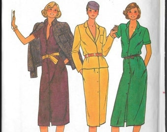 "Vintage 80s Misses Dress and Jacket Butterick 6783 Sewing Pattern Size 10 Bust 32 1/2"" Waist 24"" Womans Womens Female Clothing Wardrobe"