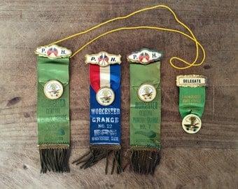 Vintage Grange prize ribbons  / agricultural ribbons / state fair prize ribbon