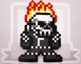 Ghost Rider Perler Bead Sprite Necklace    Ultimate Marvel vs Capcom 3    Gaming, Accessory, Wearable, Gift
