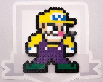 Wario Perler Bead Sprite || Super Smash Bros. || Gaming, Accessory, Wearable, Gift