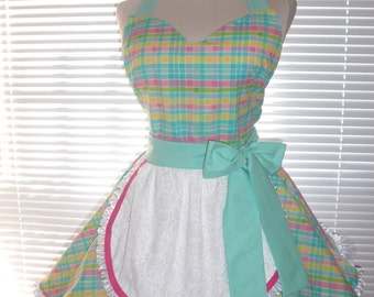 1950's Style French Maid Apron Pretty Candy Pastels Paired with Aqua Blue Pin-up Retro Style Flirty Skirt Sweetheart Neckline