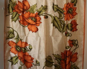 Orange Poppy Flowers Scarf Vintage Linens Made in Italy 26 x 26