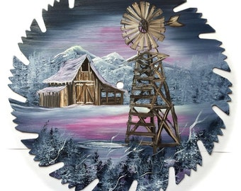 Hand Painted Saw Blade Mountain Gray Mauve Winter Barn and Windmill