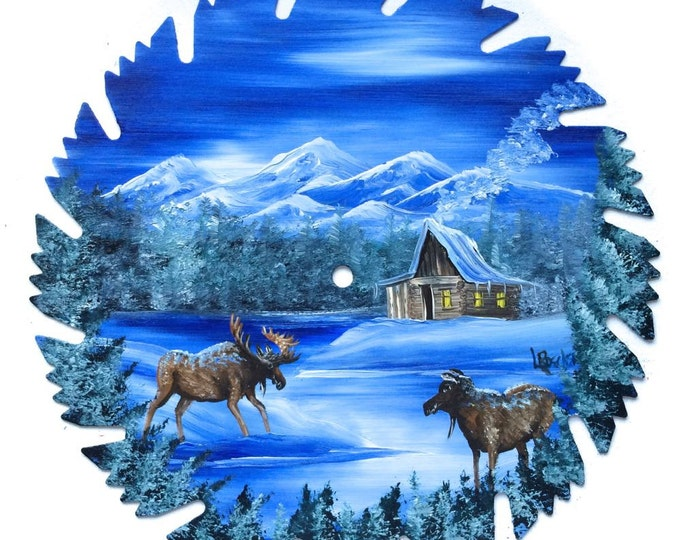 Hand Painted Saw Blade Blue Winter Log Cabin and Two Moose