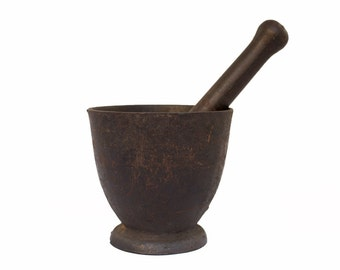 Vintage Home Decor / 1900's / Original Cast Iron Apothecary Mortar & Pestle / Medical Oddity