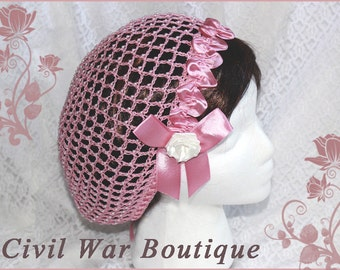 1800's Civil War Victorian Bridal Wedding Dusty Rose Pink with Pearls and Roses Hair Net Handmade 100% cotton