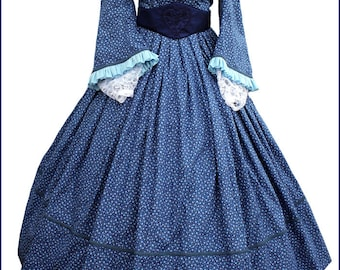4 piece 1800's Civil War Victorian Pagoda Sleeve Blue Day Dress Gown , White Crochet Collar , Medici Embroidered Belt , Lace Undersleeves
