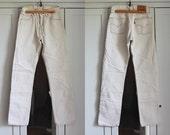 Levis 501 Women's Men's Jeans White Ivory Denim High Waist Size W28 L32 Vintage Boyfriend Button Front Jeans Made in USA