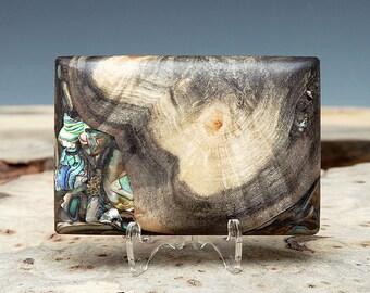 Exotic Wood and Paua Shell Inlaid Belt Buckle - Handmade