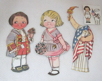 "Older Dolly Dingle Paper Doll 6 PC Dress 4th of July Liberty w Boy Doll 6 1/8""  T27"
