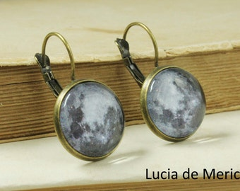 Full Moon Earrings - Moon Dangle earrings - Antique bronze Moon earrings -Moon earth sun nebula of your choice