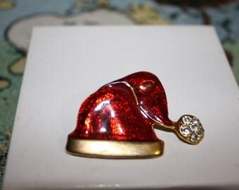 Santa Hat Pin, Gold Tone and Enamel, Vintage