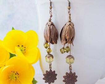 Peridot Green Brass Flower Earrings Floral Vintage