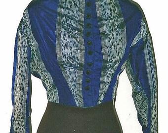 Christmas in Sept Sale Civil War Royal Blue Warp Print Silk Bodice