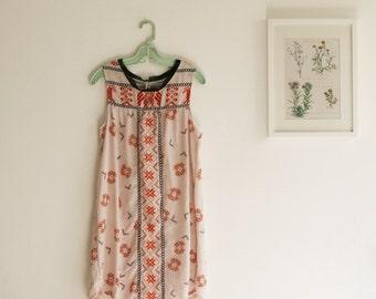 SALE / Sleevless printed dress/Cream aztec boho Print dress/ Shift dress/ Oversized tunic